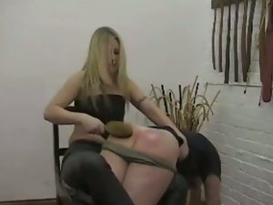Snatch acquires her wazoo spanked untill its RED