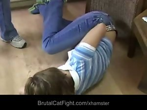 Silly hairdresser savage spanked and gangbanged by frantic client