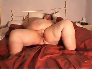 SSBBW granny group-fucked on daybed
