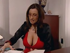Secretary with massive knockers group-fucked in the office