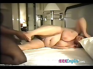Immodest hosuewife group-fucked by dark chap hubby is watching