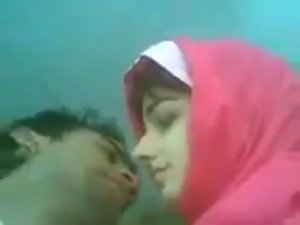 so Gracious Pakistani hijab Tandem Giving a kiss