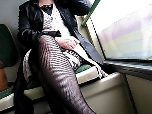 Flashing vogue nylons and quim in a bus