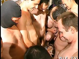 French Smutty whore group-fucked and cum overspread