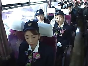 stewardesses at the office finish up on the bus