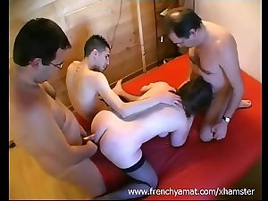 French non-professional group-sex
