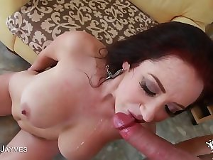 Darksome haired Jayden Jaymes Acquires Cum On Her Mega large milk cans And Face!