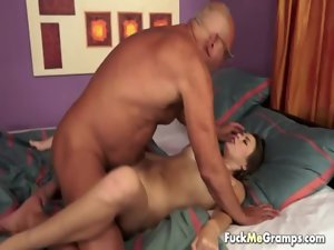Indecent mature granddad Joe with small virgin