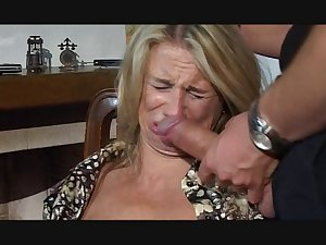 Hesitant MILF drilled in throat, wet crack and gazoo