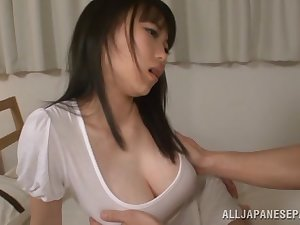 Akane Yoshinaga arousing Oriental playgirl in moist garments is drilled