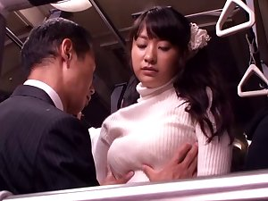 Japanese slut screwed and facialized in a bus