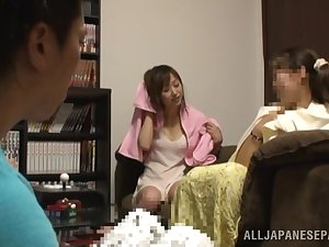 Seductive Japanese AV Model acquires facial then hawt oral-job