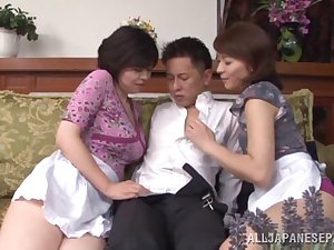 Wicked Japanese AV model and hawt maid share tough knob