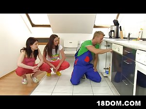 2 angry clients fuck and punish a plumber