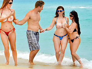 Charlee Follow & Holly Halston & Sara Jay & Levi Money in hand in Enticed by a Cougar