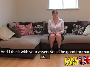 FakeAgentUK: Dilettante All red young lady with biggest scones receives multiple orgasms