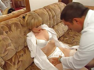 Vintage movie scene of a French chick drilled by a gynecologist