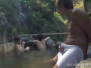 Sexually excited Oriental model is drilled in external pool