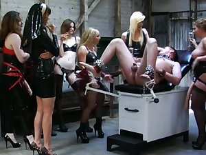 7 amoral young ladies gang ding-dong fucking the sissy.