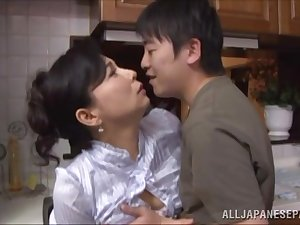 Mai Itou hawt aged Oriental honey acquires screwed in the cook-room