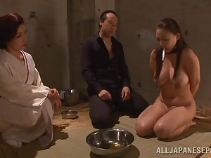 Great boobed Japanese AV model plays serf and gives a sexy headfuck