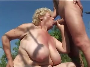Huge Tit Granny Fucking Outdoors