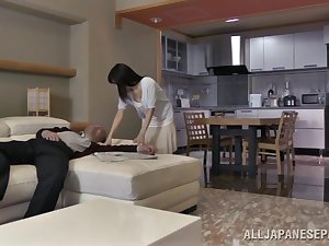 Chihiro Akino wicked Oriental housewife does from behind