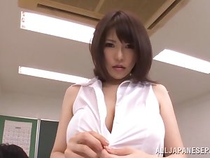Breasty coach Anri Okita receives drilled at school