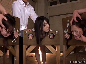 Nasty Oriental youngs Ai Uehara, Ami Tokita and fere in the stockade