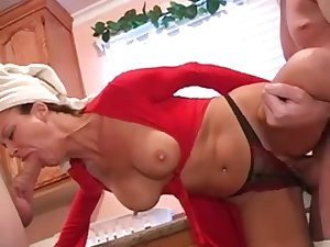 Aged housewife three-some