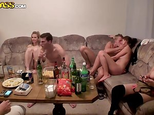 Hawt training school fucking soiree with inebriated and in nature's garb Czech
