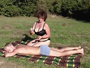 Brunette hair BBW-Milf Outdoors by Youthful Fellow