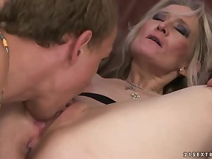 Blond older feminine seduces stud to fuck