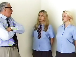 Grandad monstrously spanks schoolgirls