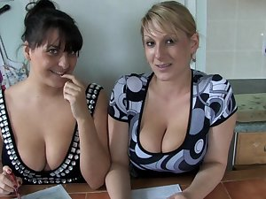 2 breasty mommys are posing on the webcam