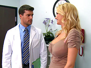 Gorgeous fake-tit golden-haired is fucking with a physician