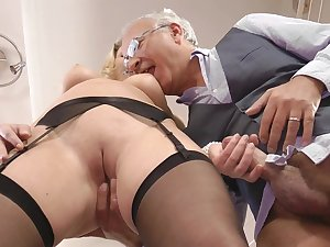 Natural-tit golden-haired with lovable come across Lucy Core fuck with grand-dad