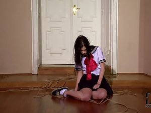Fastened schoolgirl Amber Nevada which is punished