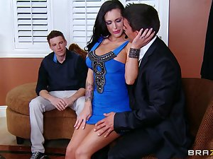 Wife in hawt costume cheats with hubby watching