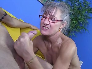 Granny is getting unspecified sex cream on her encounter