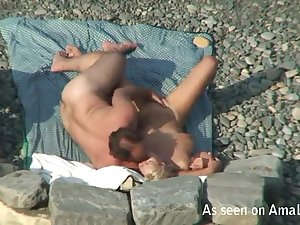 Shore front voyeur movie with irrumation