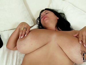 Obese maiden in solo striptease and model show