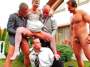 Sexually excited bride group-fucked outdoors