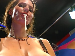 German brunette hair Viktoria swallows wicked charge