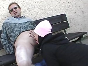 Renate gives a unfathomable blow job outdoors