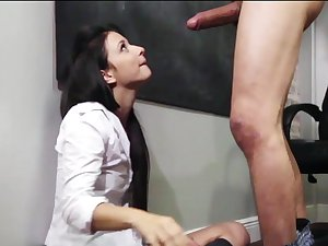 Brunette hair Mandy Sky is fucking in the classroom