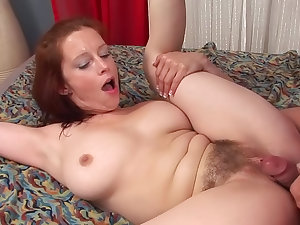 Carol receives cum above her unshaved love tunnel