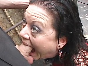 Sweetie brunette hair is swallowing ball batter with vigour