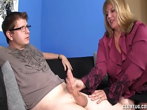 Tallow golden-haired blows jock and acquires jizz flow