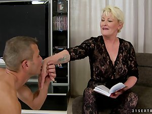 Grease golden-haired older drilled in bald cum-hole